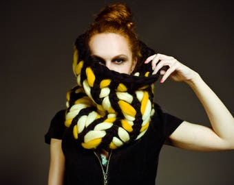 Chunky knit scarf. Fahionable snood - muffler. Giant knit Infinity scarf. Super bulky embroidered hooded scarf. Warm Fall / Winter accessory