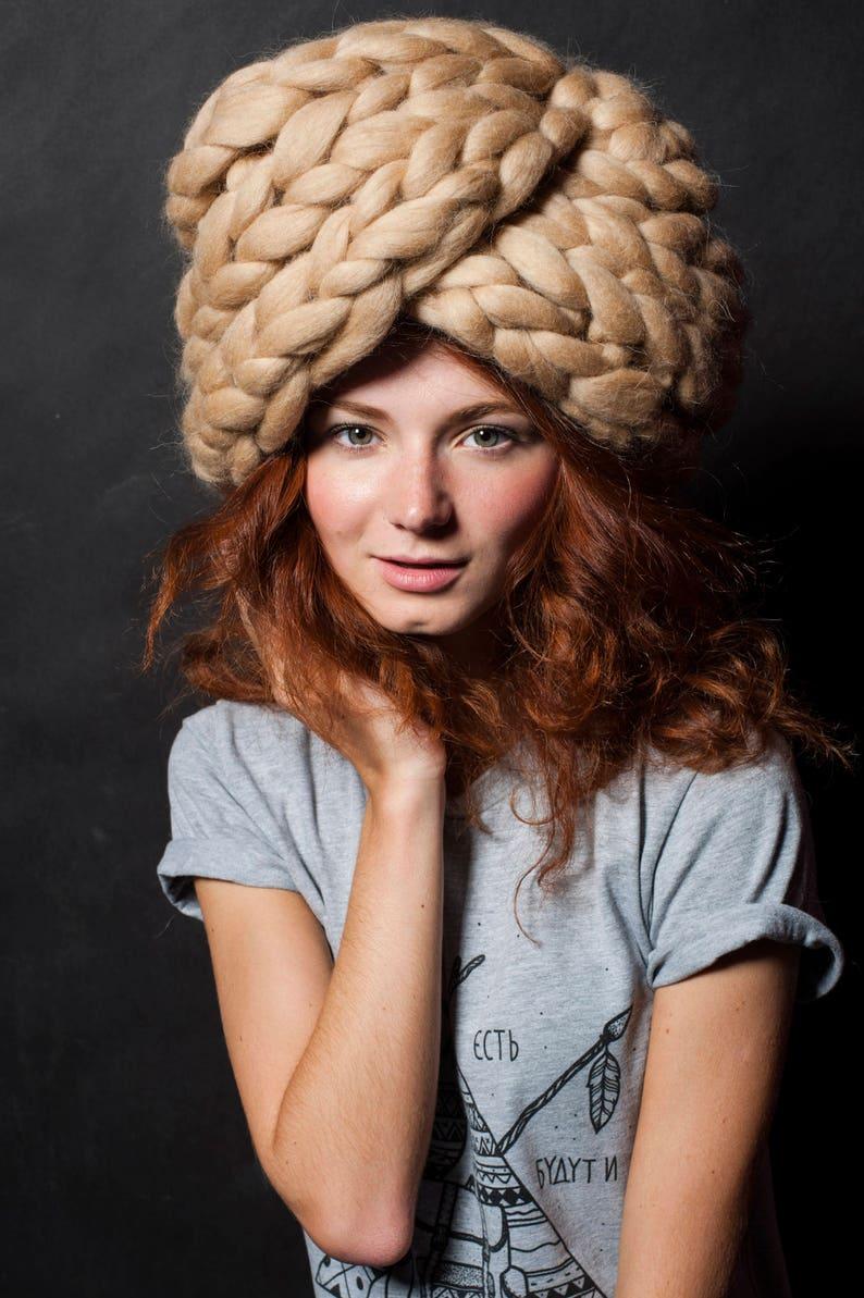 Oversized hat. Chunky knit hat. Giant knits  big turban image 0