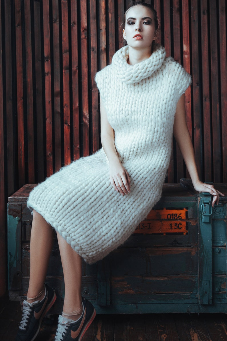 Chunky knit  Sleeveless sweater  dress. Super chunky knit  image 0