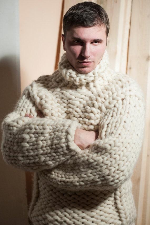 Super Chunky Knit Mens Sweater Big Knit Turtleneck Etsy