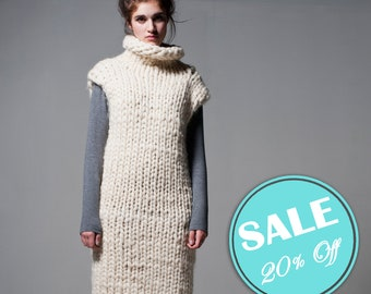 Special SALE 20% off! Chunky knit - Sleeveless sweater - dress. Super chunky knit - turtleneck dress. Extreme knitting. Woolen knit sweater.