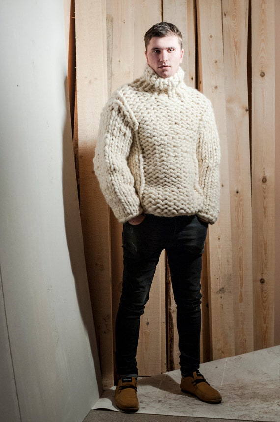 Super Chunky Knit Mens Sweater Big Knit Turtleneck Etsy