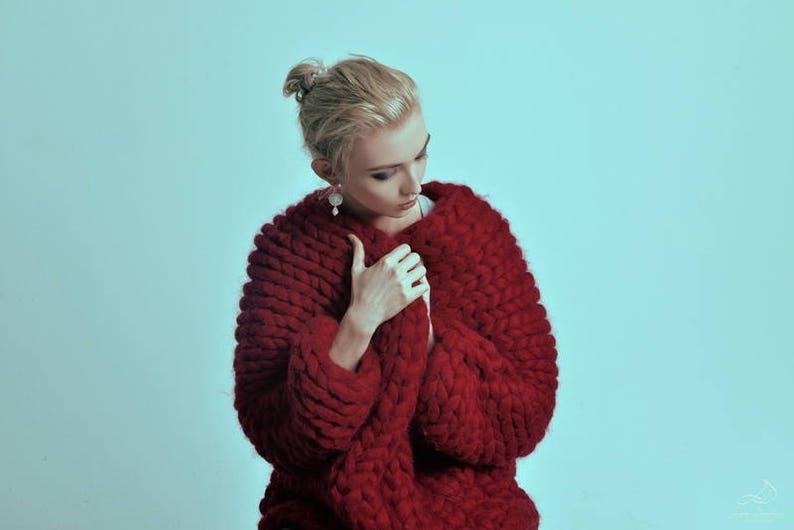 Chunky knit sweater. Knit oversized cardigan. Woolen bulky image 0