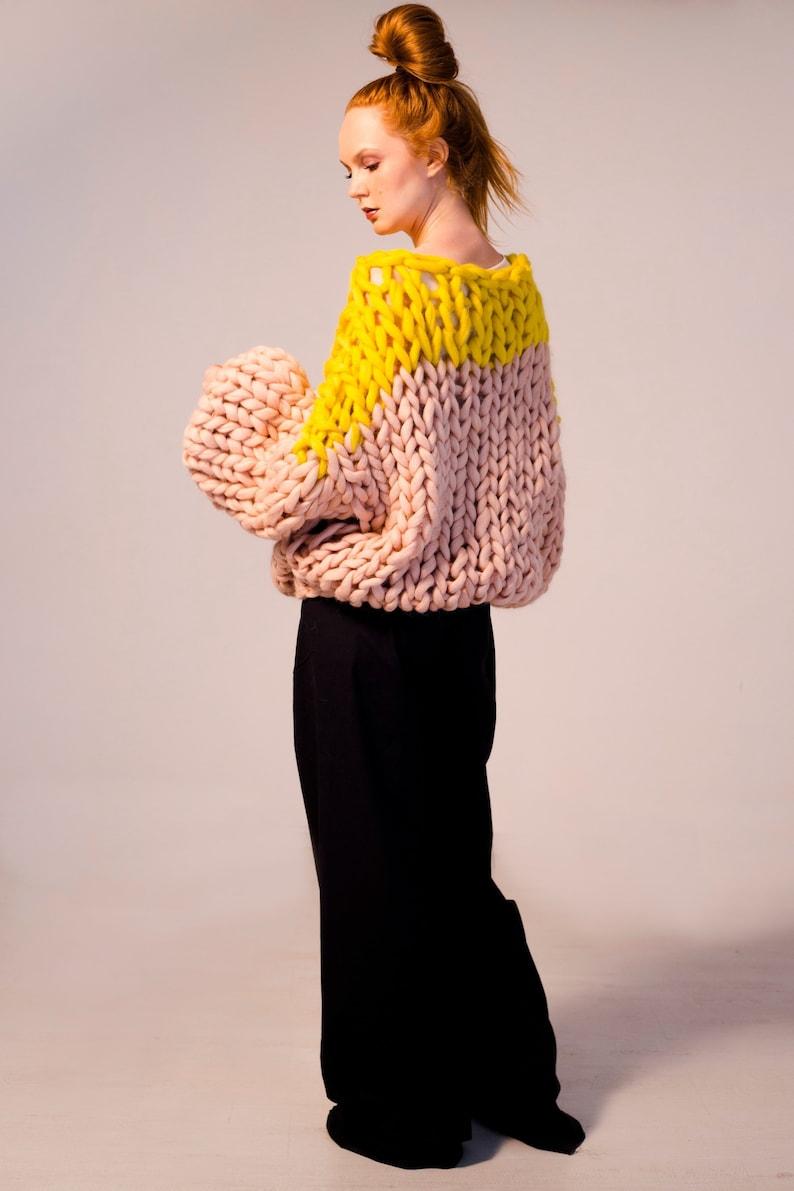 Chunky knit sweater. Big yarn sweater. Chunky knitting. Giant image 0