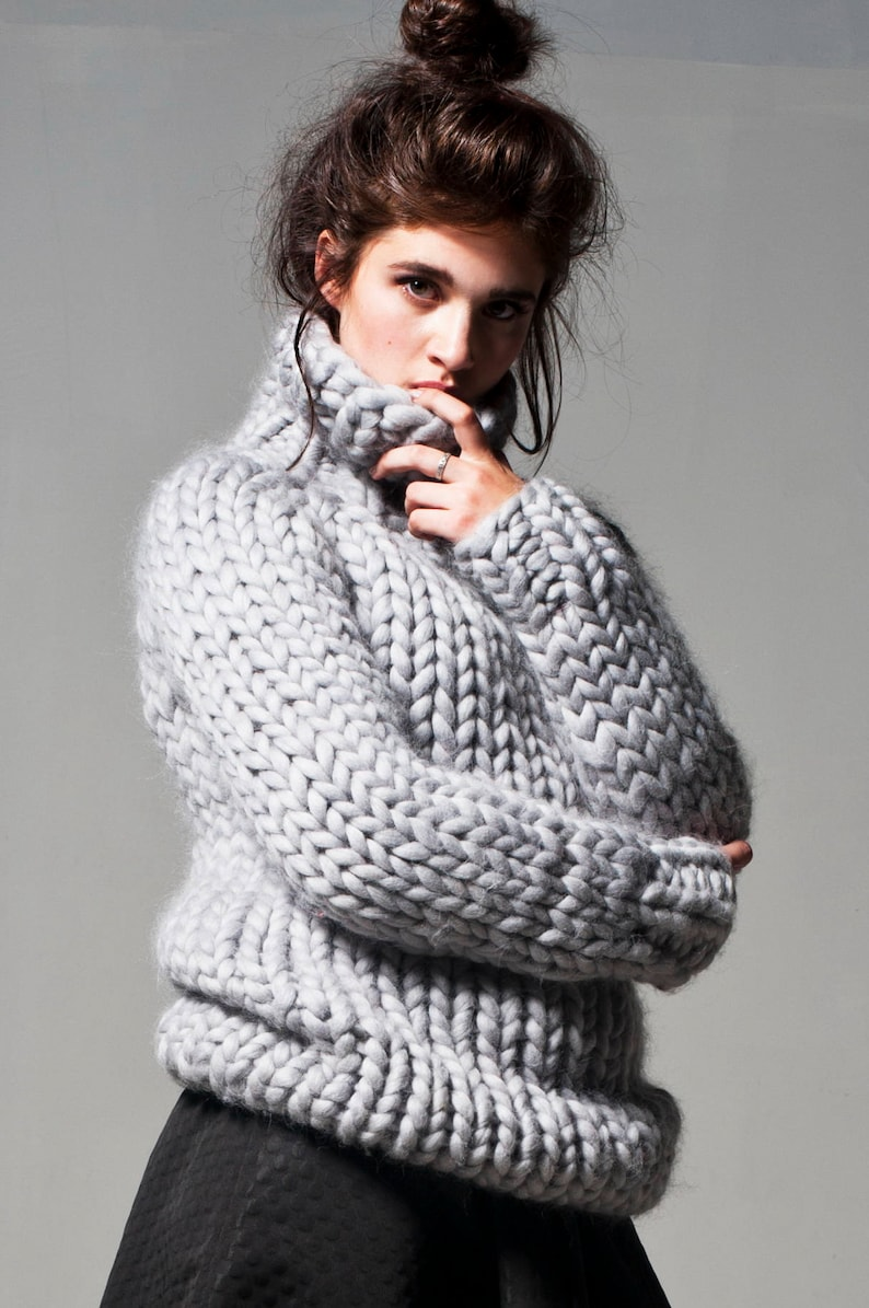 2d3d85190af3 Chunky knit. Big knitted turtleneck sweater. Chunky sweater.