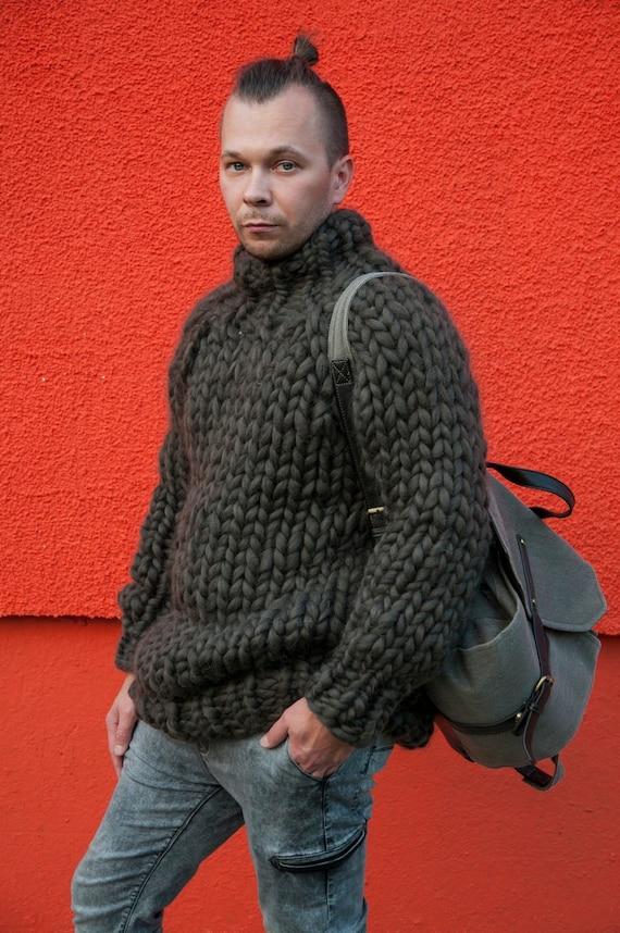 Grobstrick Strick Pullover Herren Pullover, Garn Herren Pullover, sperrige Pullover, Herren Pullover, große Männer stricken Pullover, klobige