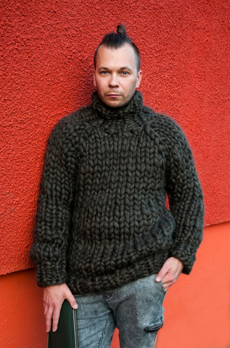 Сhunky knit sweater. Mens sweater. Big knit turtleneck. Bulky image 0