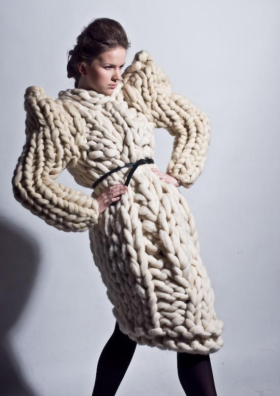 Grosse maille. Gilet en grosse laine. Pull en tricot géant.   Etsy d0b131974e94