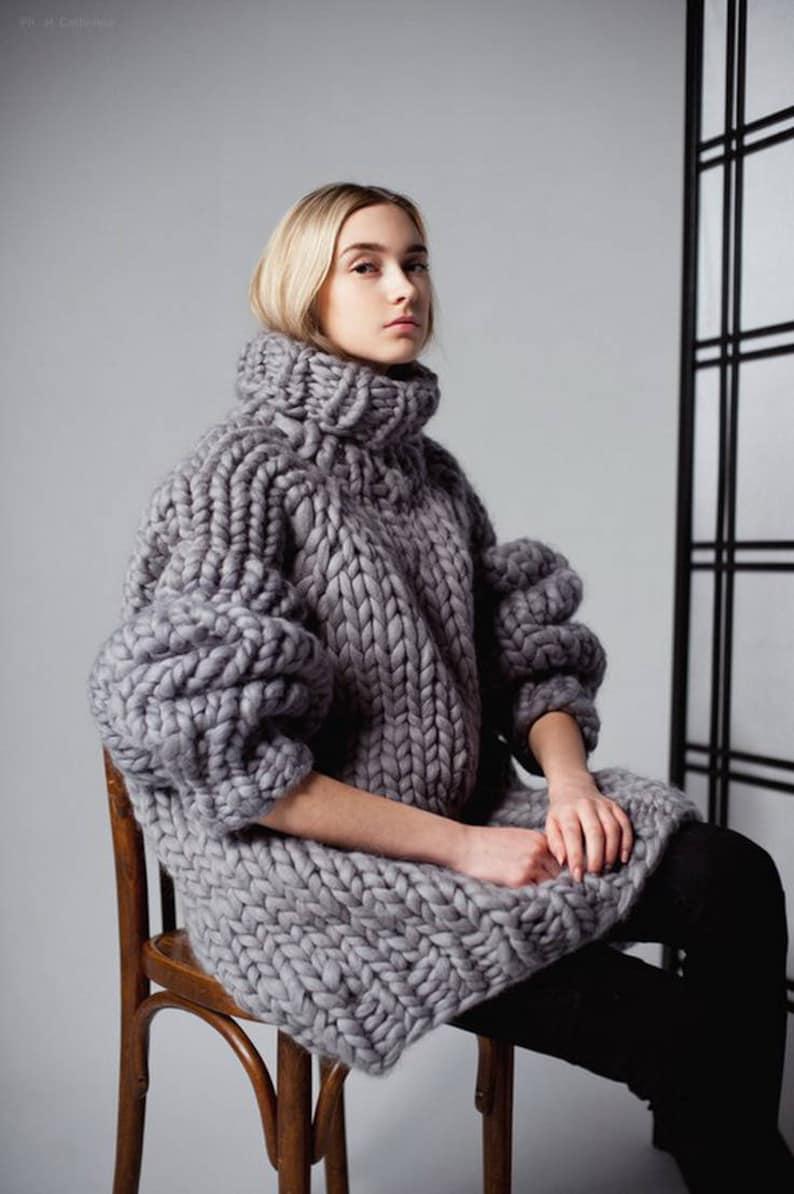 Chunky knit sweater dress. Chunky knitting turtleneck. Her image 0
