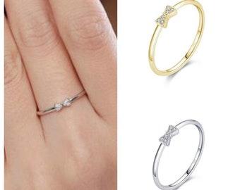 Cheerleading Bow Ring Sterling Silver, Stackable Ring, Cheerleader Bow Ring, Cheerleading Jewerly, Cheerleader Gift, Cheerleader Award