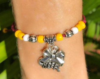 CHEERLEADING FRIENDSHIP Bracelet Garnet Yellow,  Create Your Own Cheerleading Bracelet 11 COLORS, Cheerleading charm, cheer bow, cheer coach
