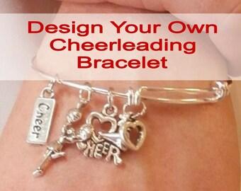 Design Your Own CUSTOM Cheerleading BRACELET, Personalized Cheerleader Gift, Cheerleading Jewelry, Cheerleader Bangle Charm Bracelet