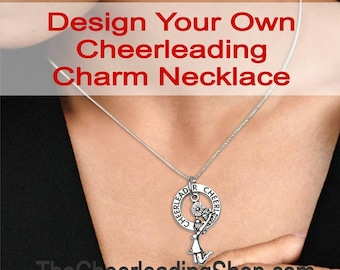 Design Your Own CUSTOM Cheerleading NECKLACE, Cheerleader Gift, Cheerleading Jewelry, Cheerleading Charm, Cheerleader Charm Necklace