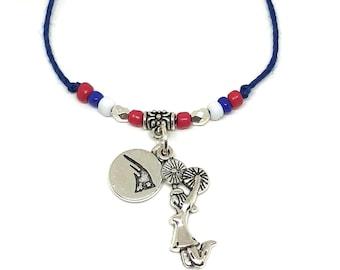 CHEERLEADING FRIENDSHIP Bracelets PATRIOTS Mascot, Create Your Own Cheerleading Bracelet, Cheerleading charm, cheerleader bow, cheer coach