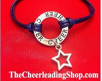 6 COLORS Cheerleading Bracelet, Cheerleading Jewelry, Cheerleading Gift, Cheerleader Charm Bracelet, Cheerleading Star Charm  - BLUE