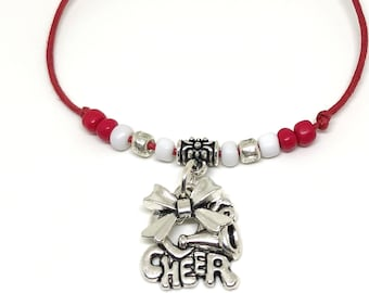 CHEERLEADING FRIENDSHIP Red White Silver,  Create Your Own Cheerleading Bracelet 11 COLORS, Cheerleading charm, cheer bow, cheer coach