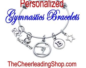 Gymnastics Bracelet, PERSONALIZED Gymnastics Gift, Gymnastics Jewelry, Gymnast Charm, Gymnastics Coach, Gymnast Gift, Gymnastics necklace