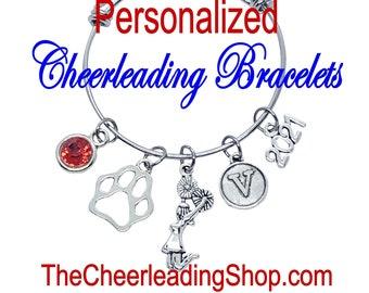CUSTOM Cheerleading Bracelet, Mascot Jewelry, Cheerleading Jewelry, Cheerleader Gift, Cheerleading Coach, Cats, Tigers, Bears