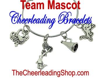 Personalize Cheerleading MASCOT Bracelet, PAW Print Jewelry, Cheerleading Gift, Cheerleading Coach, Cats, Tigers, Bears Jewelry
