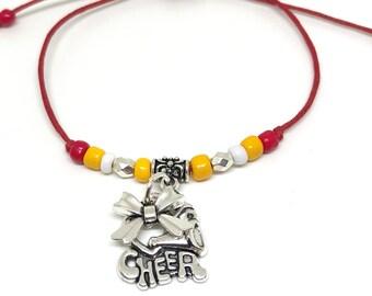 CHEERLEADING FRIENDSHIP Bracelet Red Yellow,  Create Your Own Cheerleading Bracelet 11 COLORS, Cheerleading charm, cheer bow, cheer coach