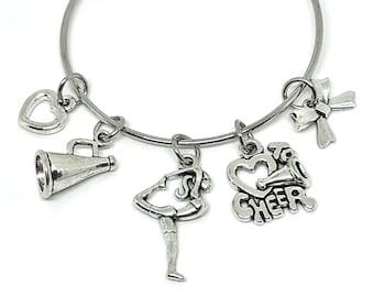 Cheerleading Charm Bangle Bracelet - Silver, Cheerleading Jewelry, Cheerleading Gift, Cheerleading Bracelet, Cheerleading Quote