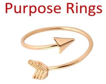 Purpose Arrow Empowerment Adjustable Ring Gold, Arrow Adjustable Ring Silver, Arrow Wrap Ring, Purpose Ring,  Empowerment Ring, Motivation