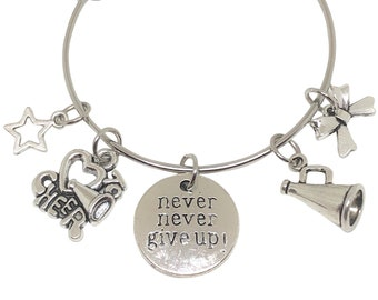 Cheerleading Bracelet, NEVER GIVE UP, Cheerleading Gift, Cheerleader Gift, Cheerleading Jewelry, Cheerleading Charm, Cheer Bow, Cheer Coach