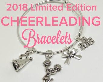 2018 Cheerleading Bracelet, CHILD and ADULT SIZES, Cheerleading Gift, Cheerleader Jewerly, Cheerleading Charm, Cheerleading Award, Cheer Bow