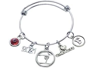 Gymnastics Bracelet CHILD Size, PERSONALIZED Gymnast Gift, Gymnastics Gift, Gymnastics Jewelry, Gymnast Charm, Gymnastics Coach