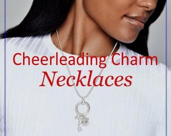 Cheerleader Charm Holder Necklace, Sterling Silver, Cheerleading Jewelry, Cheerleader Gifts, Cheer Mom, Cheer Coach, Cheerleading Bow Charm