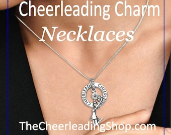 Cheerleader Charm Necklace, Sterling Silver, Cheerleading Jewelry, Cheerleader Gifts, Cheer Mom, Cheer Coach, Cheerleading Bow Charm