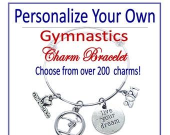 Personalize YOUR OWN Gymnastics Bracelet, Design Your Own Gymnast Bracelet, Gymnastics Gift, Gymnastics Award, Gymnast Jewerly Gymnast Coach
