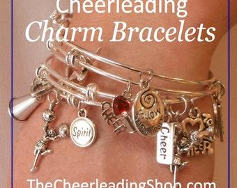 Cheerleading Bracelet Set of 4, Cheerleader Jewelry, Cheerleading Gift, Cheer Mom, Cheerleading, Cheerleading Charm Bangle Bracelet