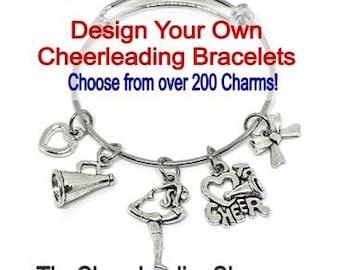 Design Your Own CUSTOM Cheerleader BRACELET, Personalized Cheerleading Gift, Cheerleading Jewelry, Cheerleader Bangle Charm Bracelet