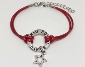 Dance Bracelet 6 COLORS, Dance Gift, Dance Gifts, Gift for Ballerina, Dance Charm, Dance Jewelry, Dance Star Charm Bracelet w/ Quote