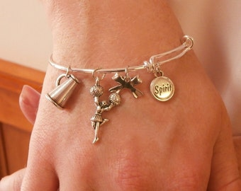 Cheerleading Bracelet, Cheerleading Gift, Cheerleading Jewelry, Cheerleading Charm, Cheerleading Charm Bangle Bracelet Silver, Cheer Quote