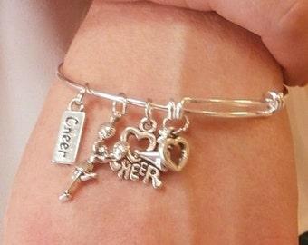 Cheer LOVE Cheerleading Charm Bangle Bracelet - Silver, Cheerleading Jewelry, Cheerleading Gift, Cheerleading Bracelet, Cheerleading Quote