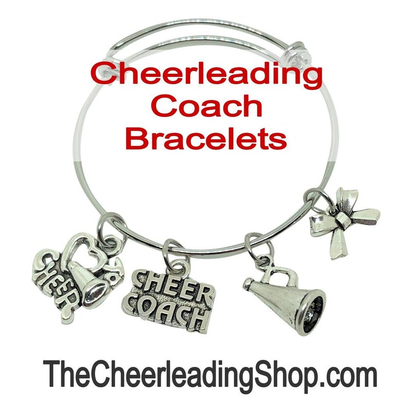 Cheerleading Coach Charm Bangle Bracelet  Silver Cheer Coach image 1