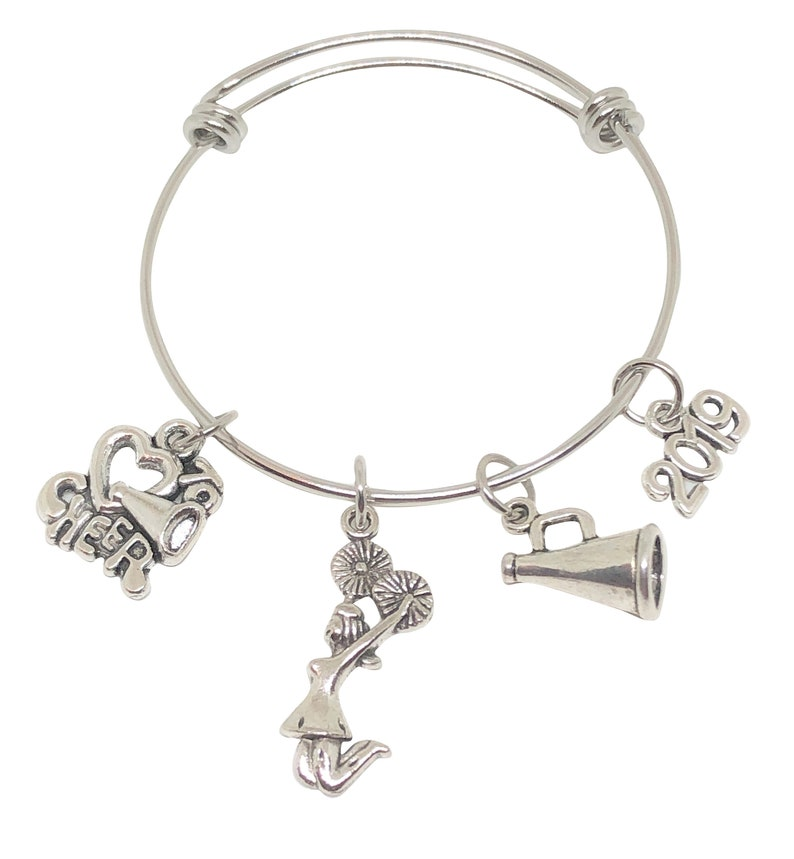 CHILD and ADULT SIZES 2019 Cheerleading Bracelet Cheerleading Award Cheerleading Gift Cheerleading Charm Cheer Bow Cheerleader Jewerly