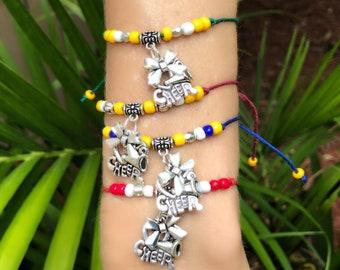 Custom CHEERLEADING FRIENDSHIP Bracelets 11 COLORS! Create Your Own Cheerleading Bracelet, Cheerleading charm, cheerleader bow, cheer coach