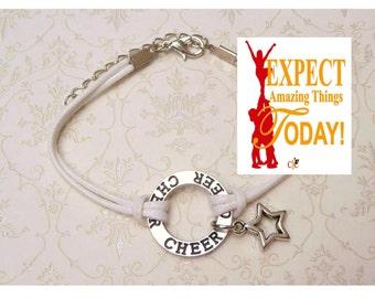 6 COLORS Cheerleading Bracelet, Cheerleading Jewelry, Cheerleading Gift, Cheerleader Charm Bracelet, Cheerleading Star Charm  - WHITE