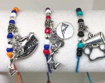 CHEERLEADING MASCOT FRIENDSHIP Bracelets 12 Mascots! Create Your Own Cheerleading Bracelet, Cheerleading charm, cheerleader bow, cheer coach