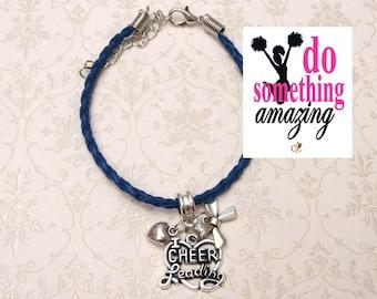 8 COLORS I Love Cheerleading Charm Bracelet - BLUE, Cheerleading Jewelry, Cheerleading Bracelet, Cheerleading Gift, Cheerleading Award
