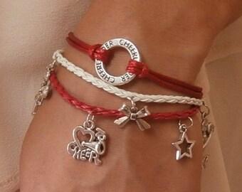 5 COLORS Cheerleading Charm Bracelet Triple Set, Cheerleading Jewelry, Cheerleading Bracelet, Cheerleading Gift, Cheerleading Quote
