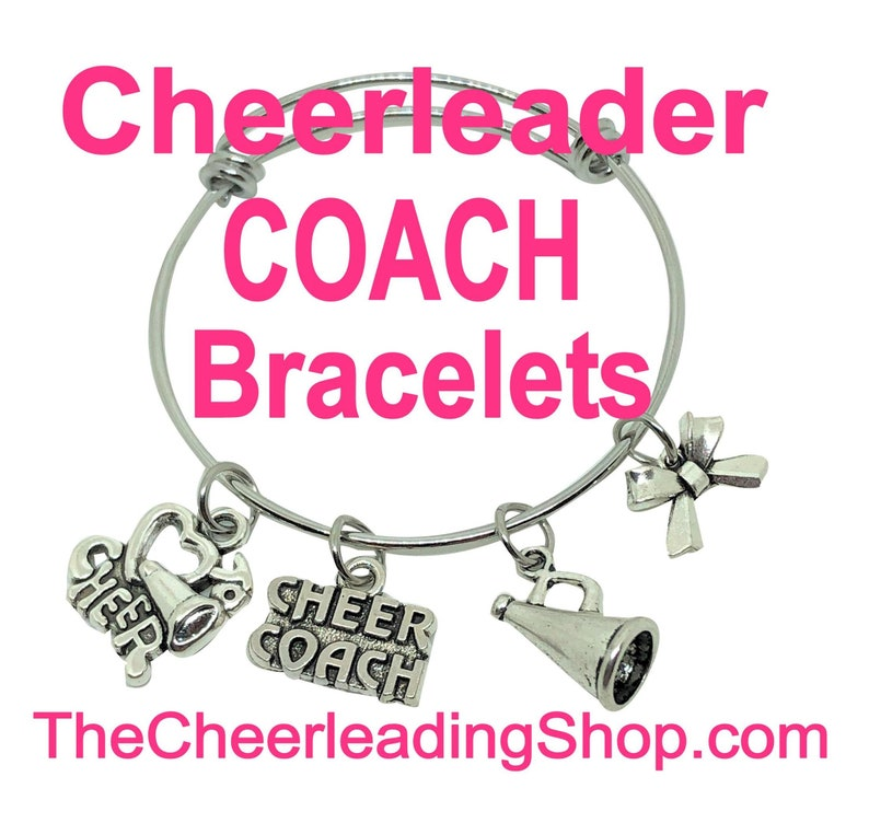 Cheerleading Coach Charm Bangle Bracelet  Silver Cheer Coach image 0