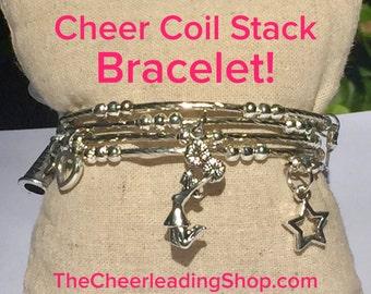 Cheerleading Bracelet Stack 6 Charms, Cheerleading Coil Bracelet, Cheerleading Gift, Cheerleading Jewlery, Cheer Coach, Cheerleading Award