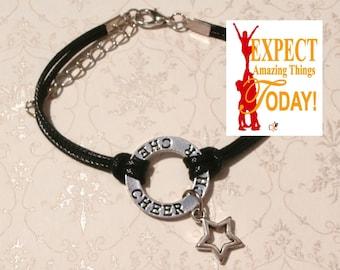 Black Cheerleading Bracelet, 6 COLORS - Cheerleading Jewery, Cheerleading Gift, Cheerleader Charm Bracelet, Cheerleading Star Charm  - BLACK