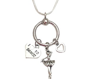 Dancer Charm Necklace, Sterling Siver Charm Necklace, Charm Holder, Ballerina Jewerly, Ballet Necklace, Dancer Gift, Dance Mom, Ballet Charm