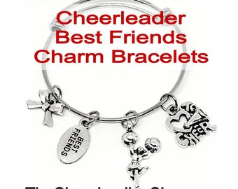 Cheerleading BEST FRINDS Charm Bangle Bracelet - Silver, Cheerleading Jewelry, Cheerleading Gift, Cheerleading Bracelet, Cheerleading Quote