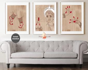 Set of 3 Woman Kathak Classical Dance I Exotic Beauty I Dancer Creative Wall Art I Tamil Brown Girl Desi Art I South Asian Wall Art I Mudras